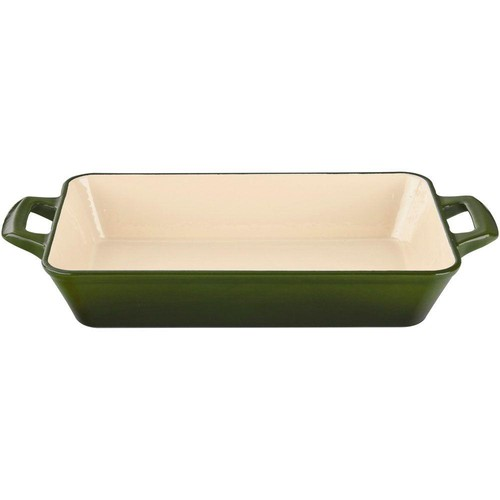 La Cuisine Small Deep Cast Iron Roasting Pan with Enamel Finish in Green