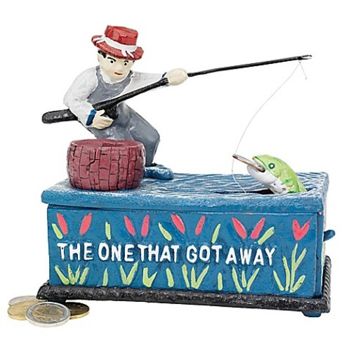 Design TOSCANO The Fisherman: The One That Got Away Cast Iron Mechanical Bank