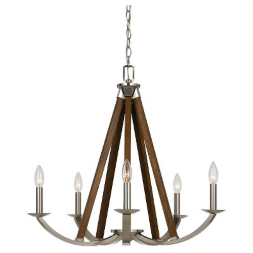 Cal Lighting Monica Metal/Wood Chandelier - Brushed Steel