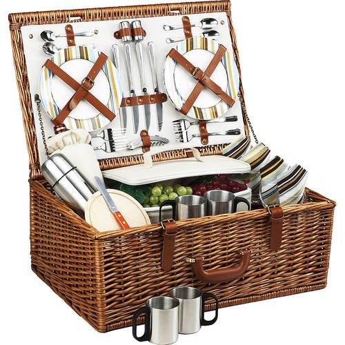 Picnic at Ascot Dorset English-Style Willow Picnic Basket with Service for 4 and Coffee Set - Santa Cruz [Santa Cruz]