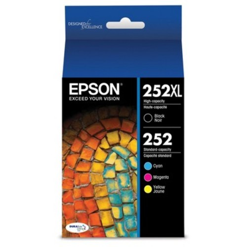 Epson - 252 4-Pack Ink Cartridges - High Capacity Black and Standard Capacity Cyan/Magenta/Yellow - Cyan/Magenta/Yellow/Black