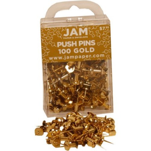 JAM Paper Push Pins - Gold PushPins - 100/Pack : Tacks And Pushpins : Office Products [Gold, 100 Pack]