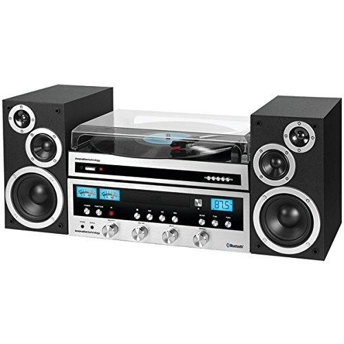 Innovative Technology - Classic CD 50W Stereo System with Bluetooth and USB Turntable - Silver