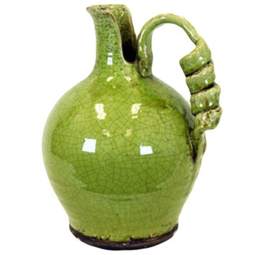 Ceramic Tuscan Vase with Handle Craquelure Gloss Yellow Green