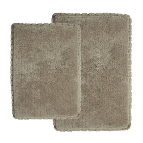 Chesapeake Merchandising Verona Pleat Trim Linen 2 ft. x 3 ft. 4 in. 2-Piece Bath Rug Set
