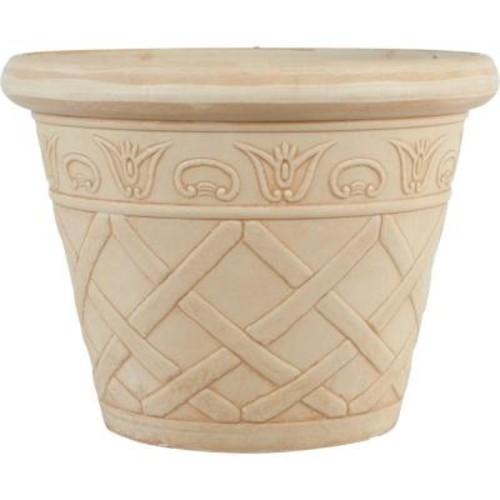 Pride Garden Products 12 in. Dia Lattice Ivory Plastic Planter