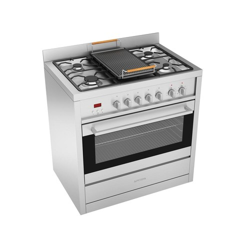 Ancona Gourmet 36 in. 3.8 cu. ft. Freestanding Electric Convection Oven Dual Fuel Range in Stainless with Cast Iron Griddle