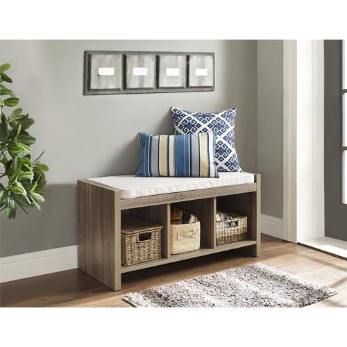 Dorel Penelope Sonoma Oak Entryway Storage Bench with Cushion