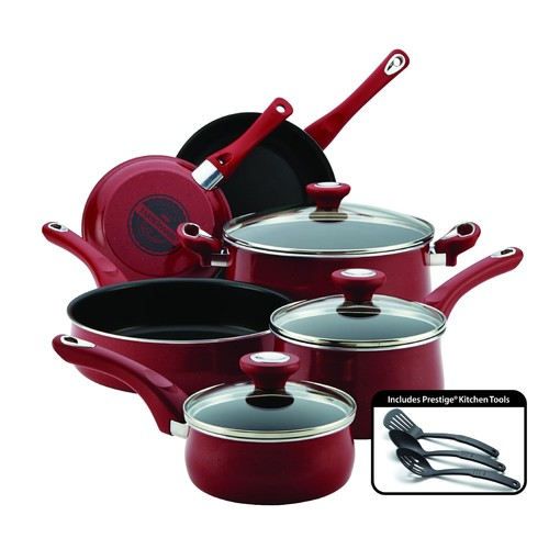 Traditions 12-Piece Red Nonstick Cookware Set