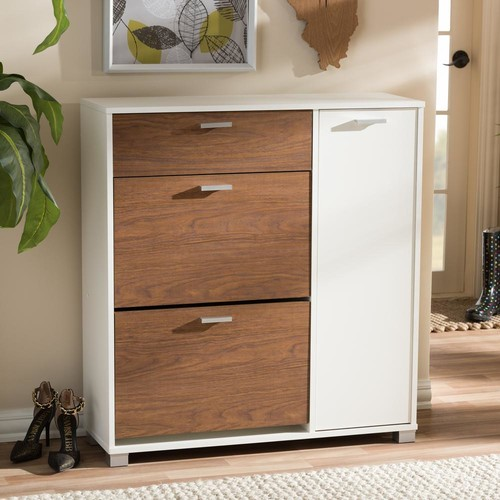 Baxton Studio Chateau Medium Brown and White Wood Finished Shoe Cabinet