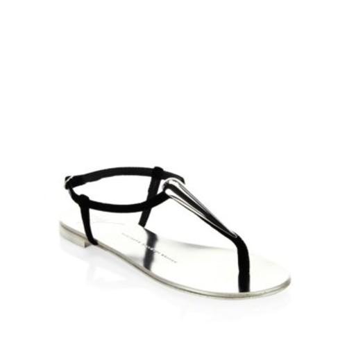 GIUSEPPE ZANOTTI Nuvo Rock Teardop T-Strap Flat Sandals