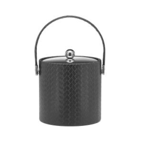 Kraftware San Remo Eclipse 3 Qt. Ice Bucket with Stitched Handle, Metal Lid