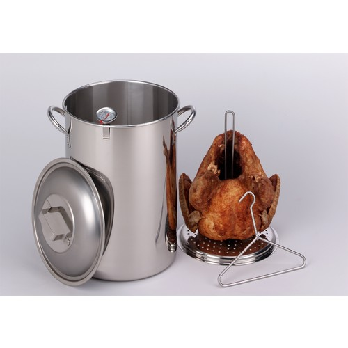King Kooker 30 Qt. Stainless Steel Turkey Pot with Lid, Lifting Rack, Lifting Hook, and Deep Fry Thermometer