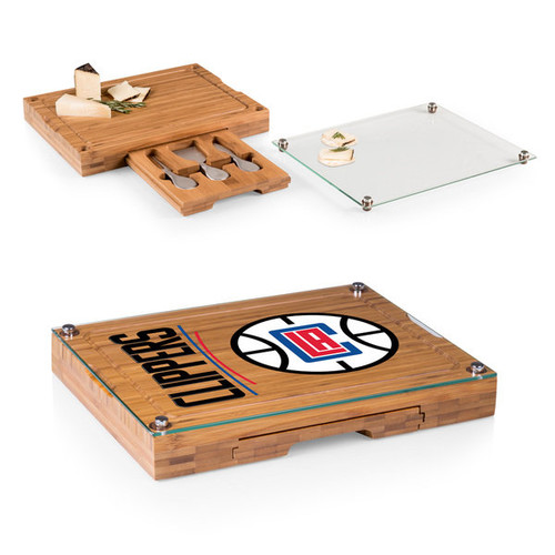 Picnic Time Los Angeles Clippers Concerto Bamboo Cutting Board/Tray and Cheese Tools Set