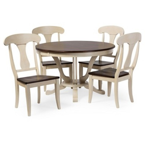 Napoleon Chic Country Cottage Antique Oak Wood and Distressed White 5-Piece Dining Set - Baxton Studio