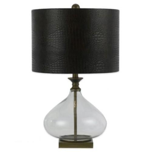 AF Lighting Sanjay Table Lamp in Clear Glass with Crocodile Hardback Shade