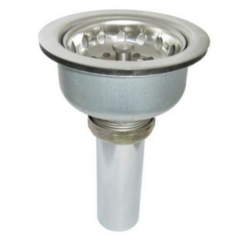 Just Manufacturing 304 Stainless Steel 4'' Crumb Cup Strainer Kitchen Sink Drain w/ Removable Basket