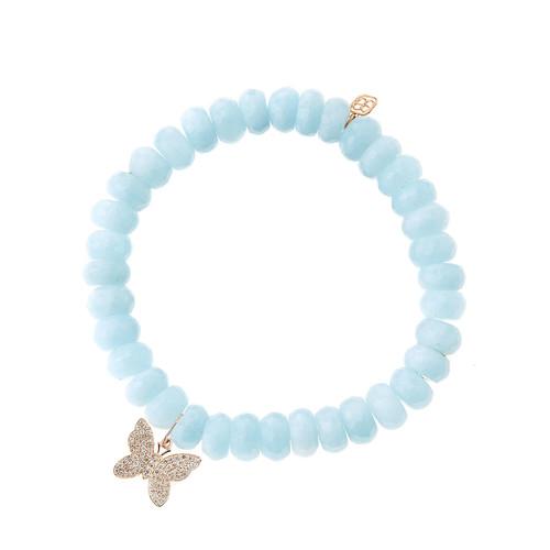 Aquamarine Beaded Bracelet with Diamond Butterfly