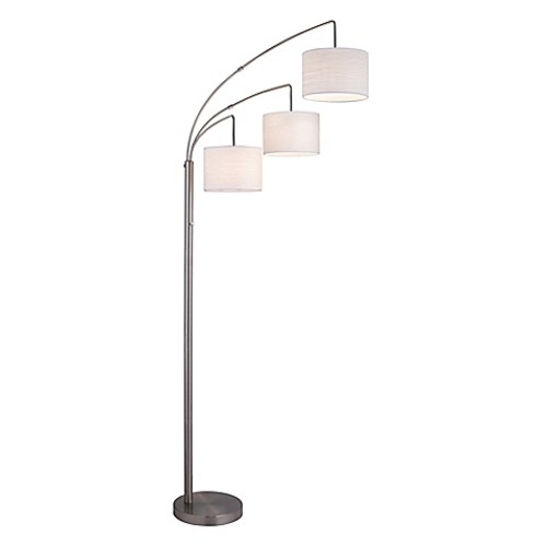 Adesso 3-Arc Floor Lamp in Satin Steel with White Crinkle Paper Shades [Finish : SATIN STEEL]