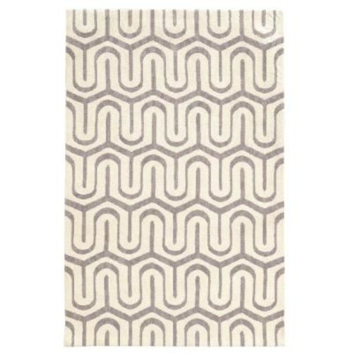 Linon Home Decor Geo Collection Grey/Ivory 5 ft. x 7 ft. Indoor Area Rug
