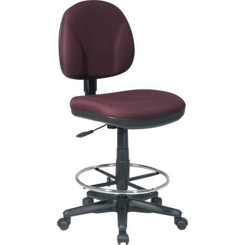 Office Star Fabric Armless Drafting Chair, Burgundy