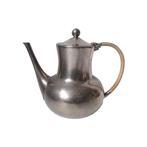 Dutch Pewter & Wicker Teapot