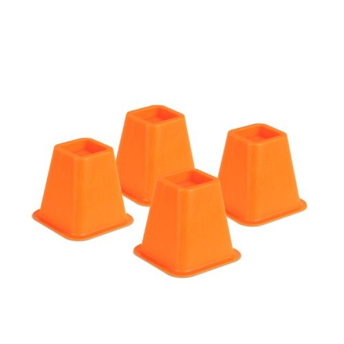 Honey-Can-Do STO-01878 Bed Risers, 4-Pack, Orange [Orange, Stackable Square Bed Risers]