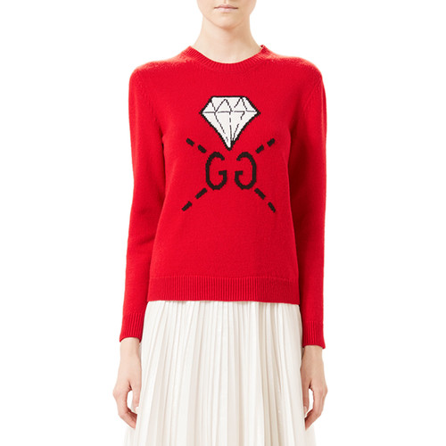 GUCCI Ghost Gg Diamond Knit Top, Hibiscus Red