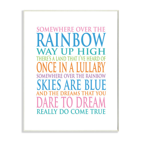 Somewhere Over The Rainbow' Multicolored Wooden Unframed Wall Art
