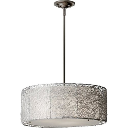 Murray Feiss F2702/3BS Wired 3 Light Chandelier, Brushed Steel [Brown]
