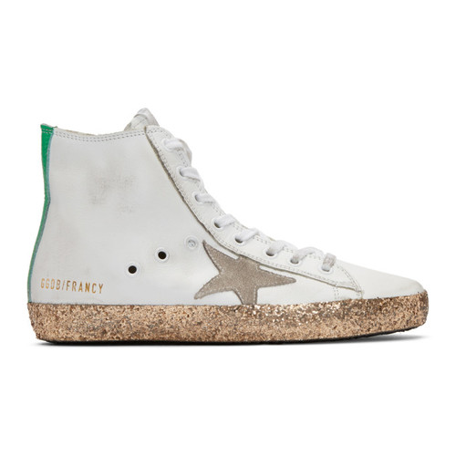 GOLDEN GOOSE White & Gold Francy High-Top Sneakers