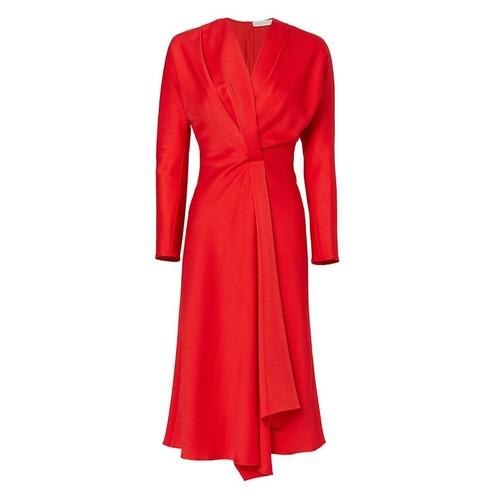 VICTORIA BECKHAM Long Sleeve Wrap Drape Dress