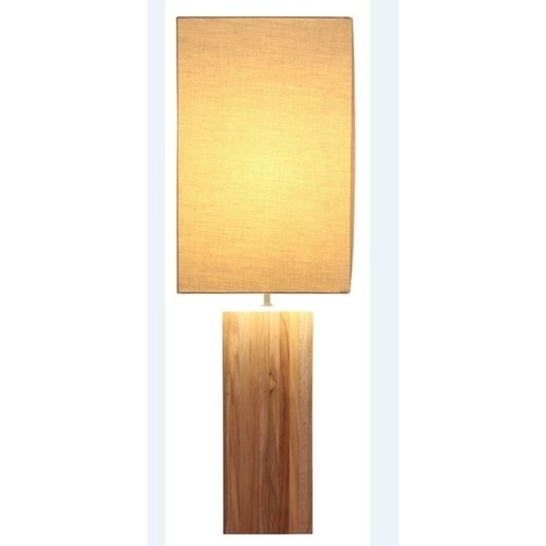 Natural-finish Teak Wood Tall Table Lamp
