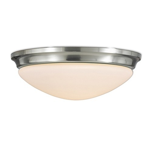 Feiss Barrington 1-Light LED Flush-Mount Ceiling Fixture in Brushed Steel with Glass Shade
