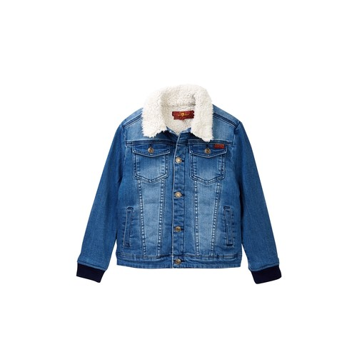 Faux Shearling Lined Denim Jacket (Toddler Boys)