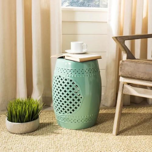 Safavieh Paradise Gardens Light Blue Ceramic Garden Stool