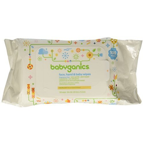 Babyganics Face, Hand and Baby Wipes, Fragrance Free, 100 ct