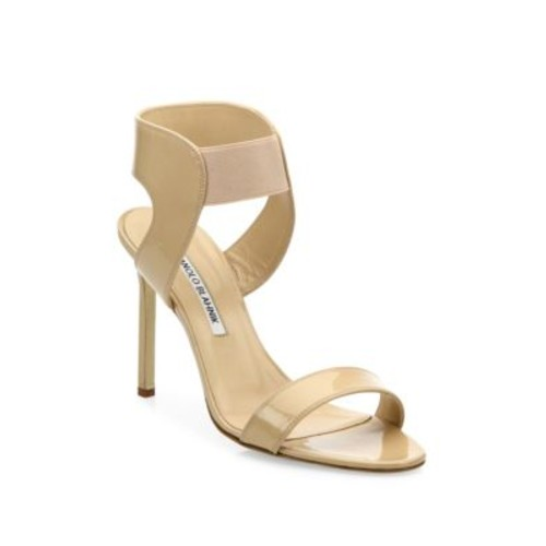 MANOLO BLAHNIK Pepe Patent Leather Sandals