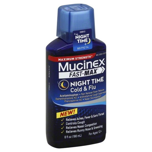 Mucinex Fast-Max Cold & Flu, Night Time, Maximum Strength, 6 fl oz (180 ml)