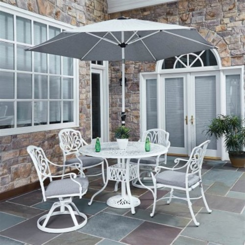 Home Styles Floral Blossom White Cast Aluminum 48 in. 5 Piece Round Patio Dining Set with Optional Umbrella