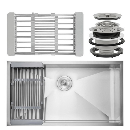 AKDY Handcrafted All-in-One Undermount Stainless Steel 30 in. x 18 in. x 9 in. Single Bowl Kitchen Sink with Tray and Drain