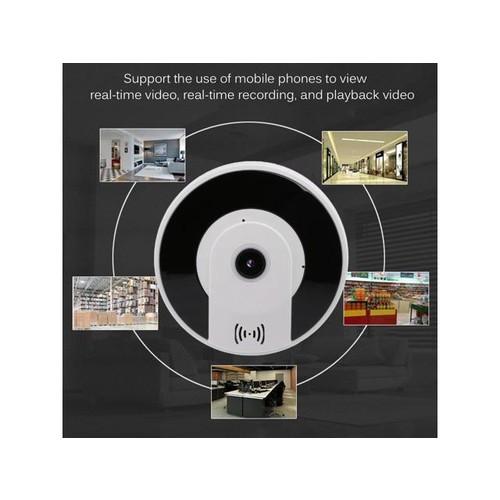 Small 360 Degree Panoramic View Round Shape 960P Wireless IP Camera For Phones black & white