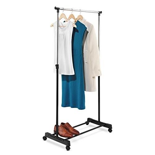 Honey-Can-Do GAR-01122 Adjustable Height Garment Rack, Chrome and Black [Chrome/Black, 33.1