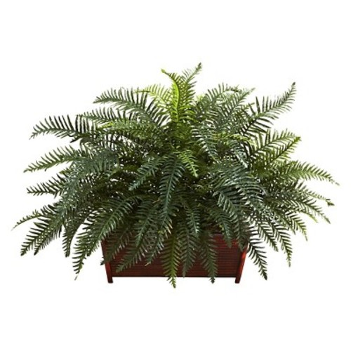 Nearly Natural 6804 River Fern with Wood Planter L Green
