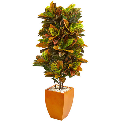 5.5 Croton Artificial Plant in Orange Planter (Real Touch)