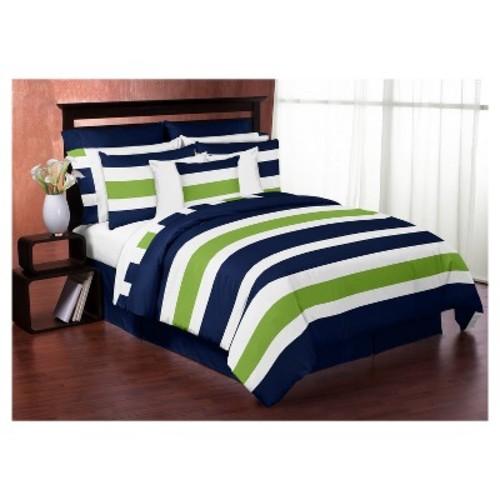 Navy & Lime Stripe Comforter Set (Twin) - Sweet Jojo Designs