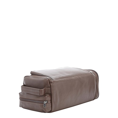 Executive Calfskin Leather Shoe Travel Bag, Brown