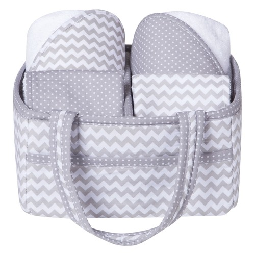 Trend Lab 5 Piece Gray Chevron Baby Bath Gift Set