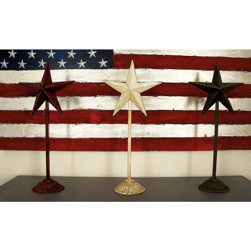 Dimensional Decorative Metal Stars in Brown, Cream and Red (Set of 3)