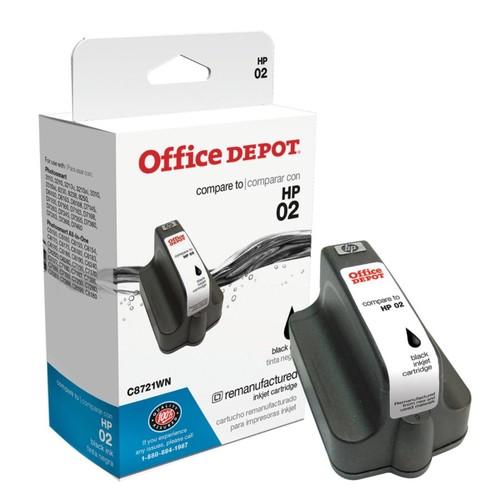 Office Depot Brand OD02K (HP 02) Remanufactured High-Yield Black Ink Cartridge